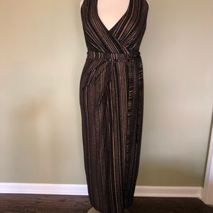 City Chic Bronze & Black Long Wrap Dress Size 18W